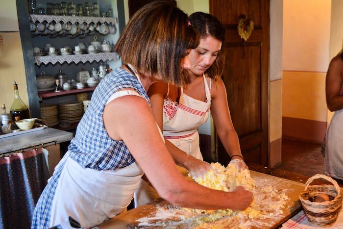 Women preparing home made pasta
