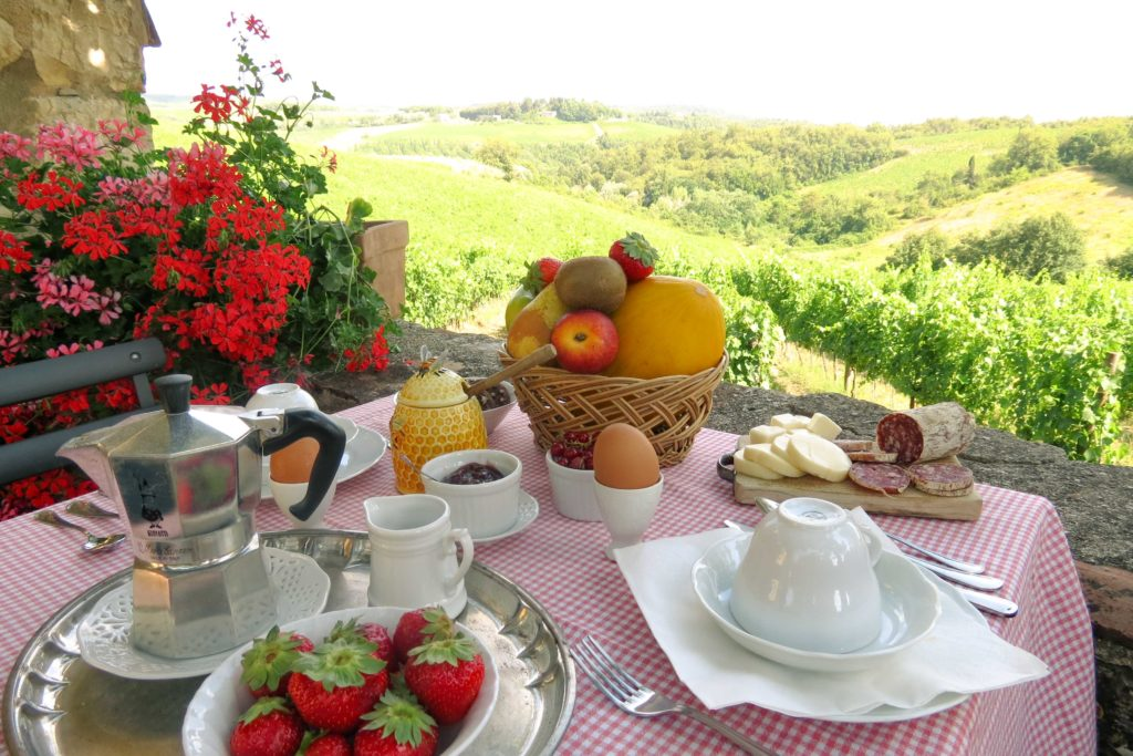 breakfast with view in Piccola Villa - Chianti Siena Tuscany villas