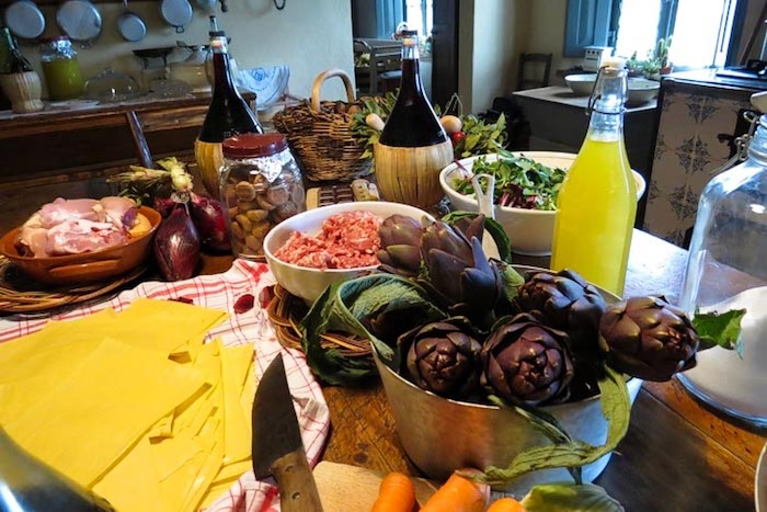 Italian cooking class ingredients - cooking classes in Chianti Siena Tuscany