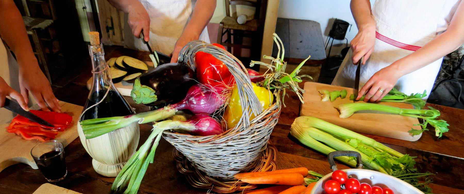 italian cooking class chopping vegetables - cooking classes in Chianti Siena Tuscany