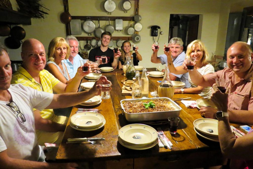 Italian cooking class night toast - cooking classes in Tuscany