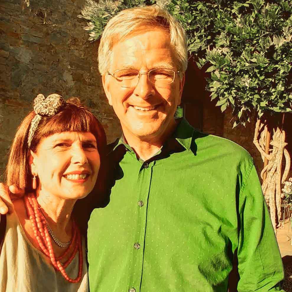 Elena Nappa & Rick Steves at Borgo Argenina Tuscany Accommodations near Siena
