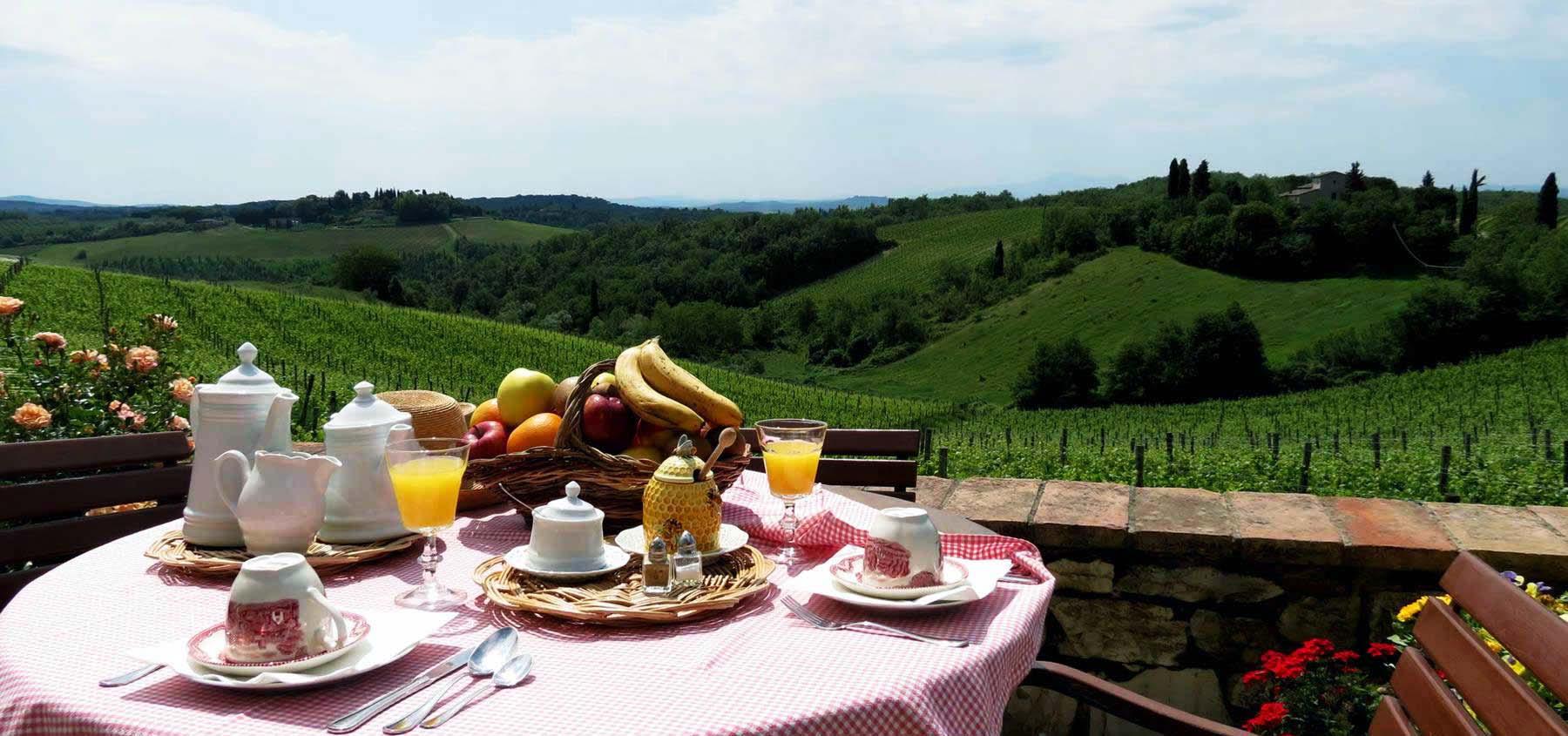 Breakfast over Chianti vineyards at Borgo Argenina