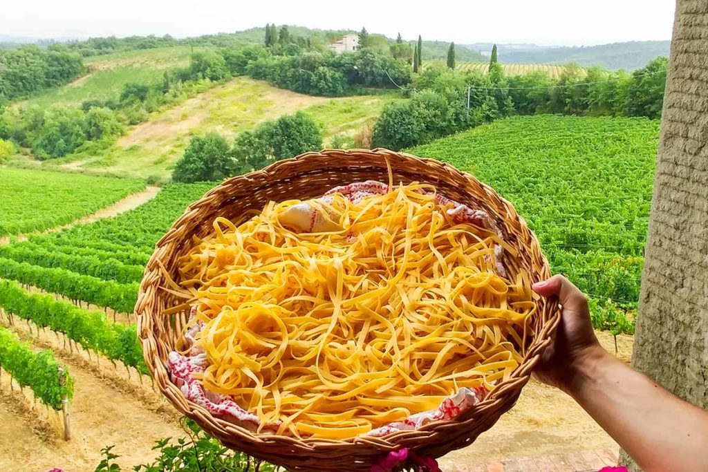 Tuscany Cooking classes - homemade pasta over chianti vineyards