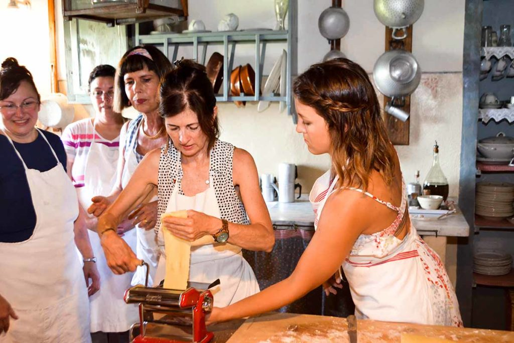 Tuscany Cooking classes - women making pasta